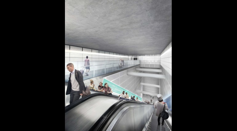 03 Tottenham Court Road station - proposed escalator leading from St Giles Circus ticket hall_236023