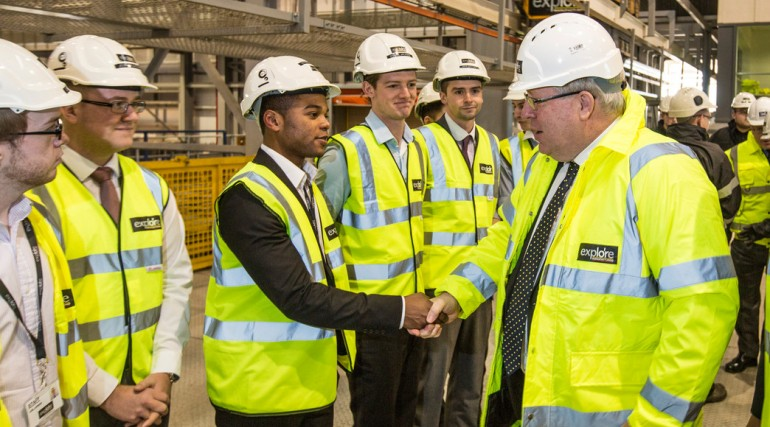 115052_Transport Secretary visits Midlands factory building Crossrail Custom House station