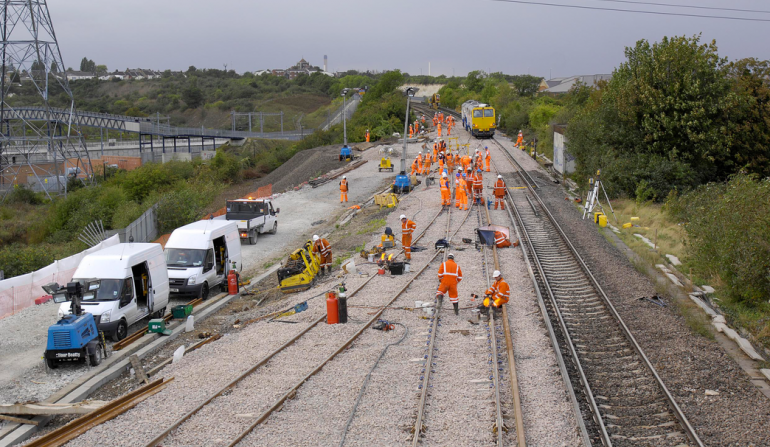 Reinstatement works on freight rail link into Northfleet site, September 2011