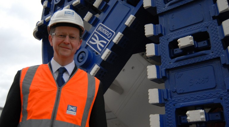 Chief Engineer Chris Dulake unveils Crossrail's first tunnel boring machine, December 2011