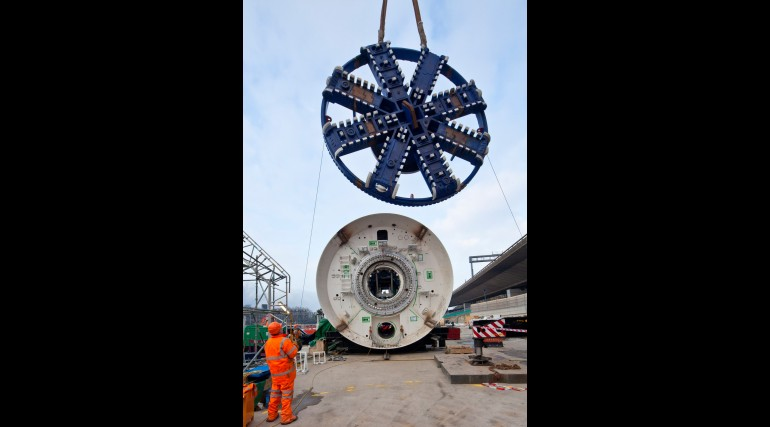 Cutterhead lifted into place for Crossrail's first tunnelling machine, January 2012