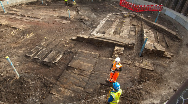 Thames Ironworks remains uncovered at Limmo Peninsular Shaft - February 2012