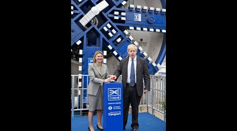 Mayor of London and Secretary of State for Transport turn on cutterhead, March 2012