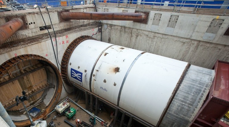 Crossrail's first tunnel boring machine breaks ground at Royal Oak Portal, May 2012