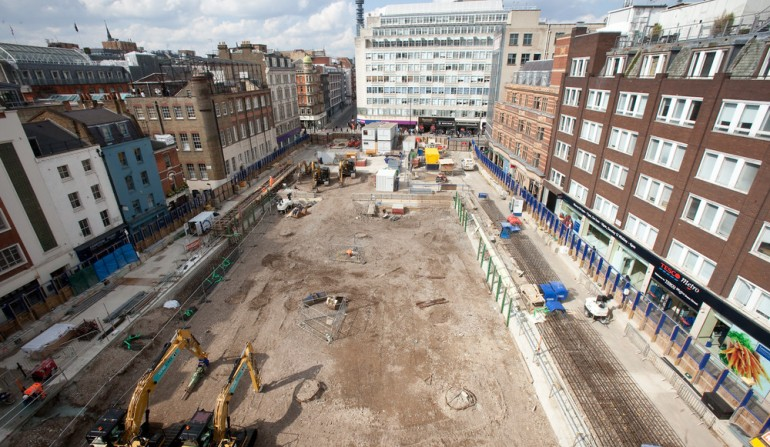 Tottenham Court Road western ticket hall construction, April 2012