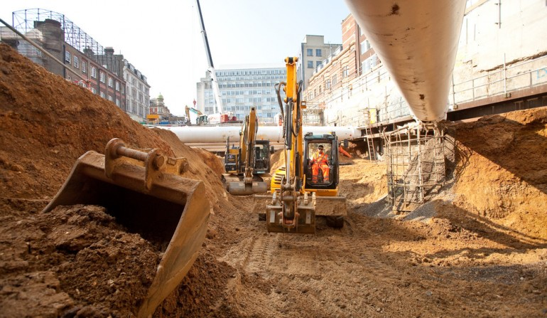 Tottenham Court Road western ticket hall construction, May 2012