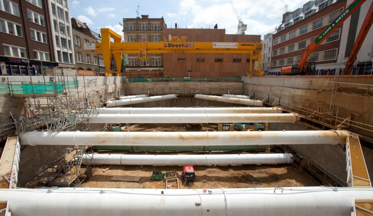 Tottenham Court Road western ticket hall construction, June 2012