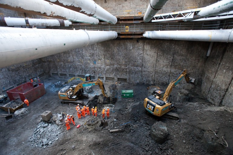 Crossrail's western ticket hall excavation reaches track level at Tottenham Court Road