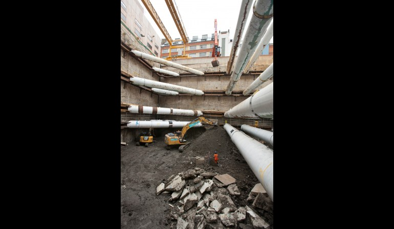Tottenham Court Road western ticket hall construction, August 2012