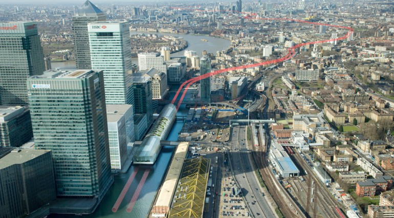 Architects impression of Canary Wharf Crossrail station over-site development, October 2012