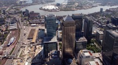 Aerial view of London skyline looking east towards Canary Wharf
