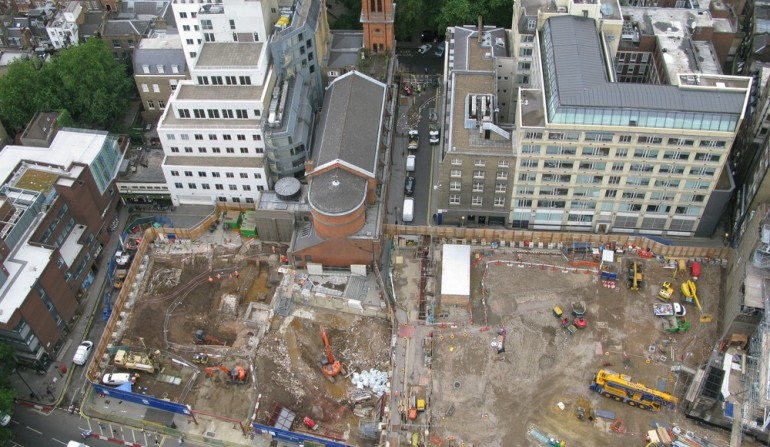Archaeology underway at Tottenham Court Road