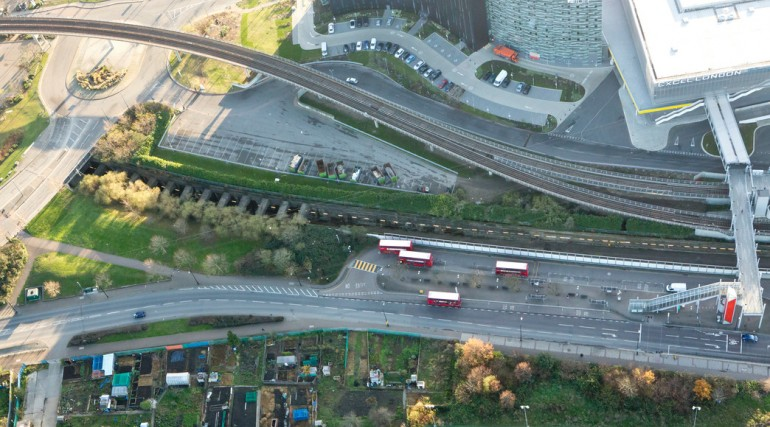 Aerial view of Connaught Tunnel northern entrance, November 2012