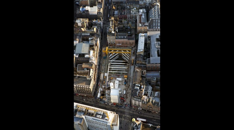 Aerial view of Crossrail Tottenham Court Road station western ticket hall