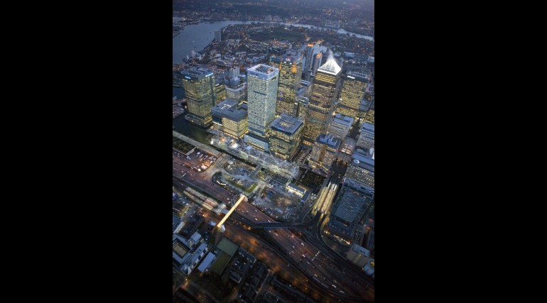 Aerial view of Crossrail Canary Wharf station