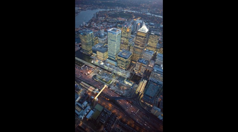 Aerial view of Canary Wharf Crossrail worksite, November 2012