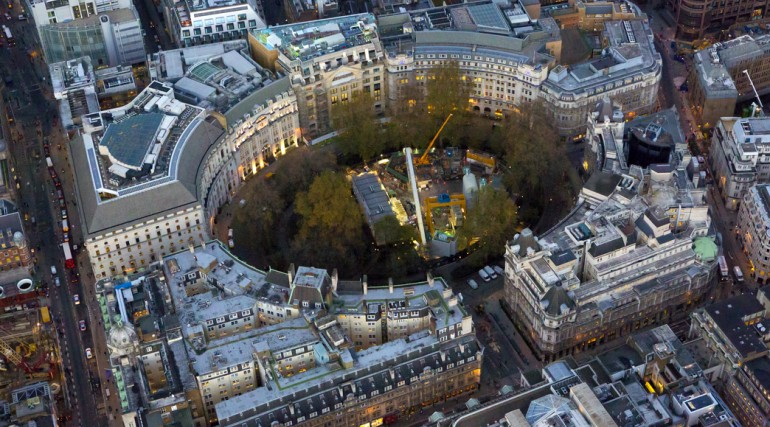Aerial view of Crossrail worksite at Finsbury Circus