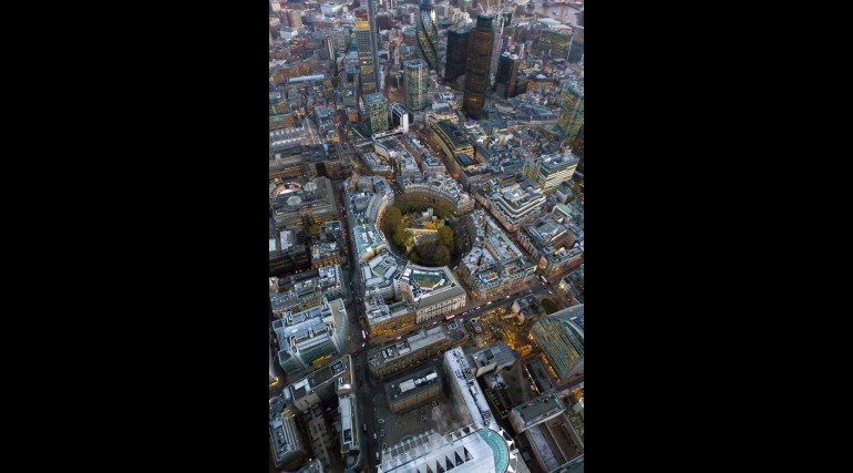 Aerial view of Liverpool Street station