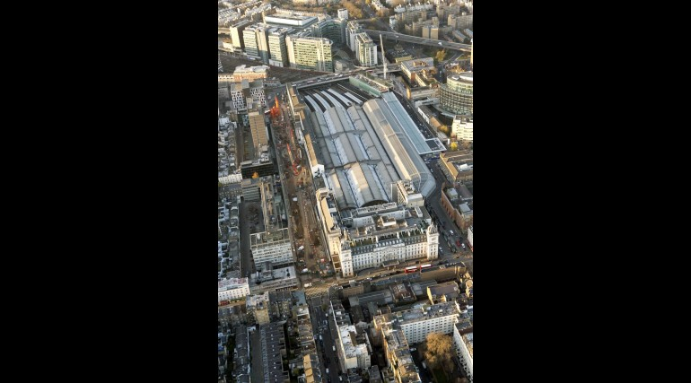 Aerial view of Crossrail Paddington Station worksite