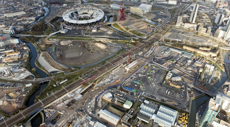 Aerial view of Pudding Mill Lane portal site adjacent to the Olympic Village