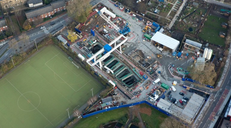 Aerial view of Stepney Green shaft