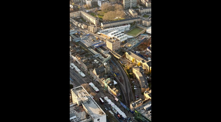 Aerial view of Crossrail Whitechapel station