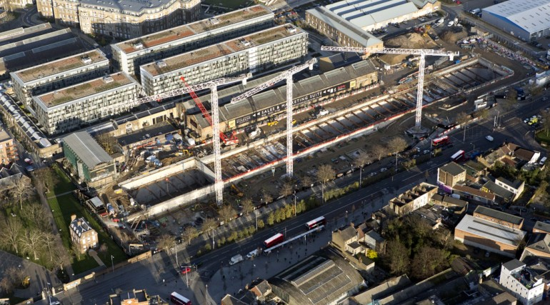 Aerial view of Woolwich Station worksite