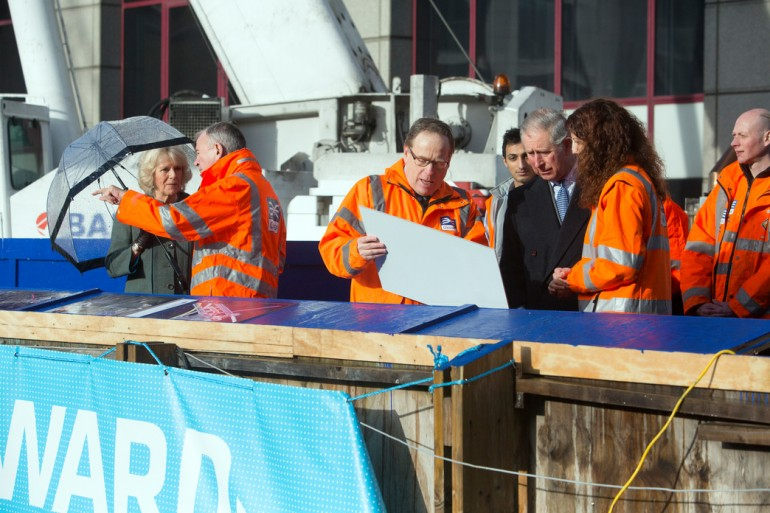 Crossrail workers meet Prince of Wales and Duchess of Cornwall at new Farringdon Crossrail station