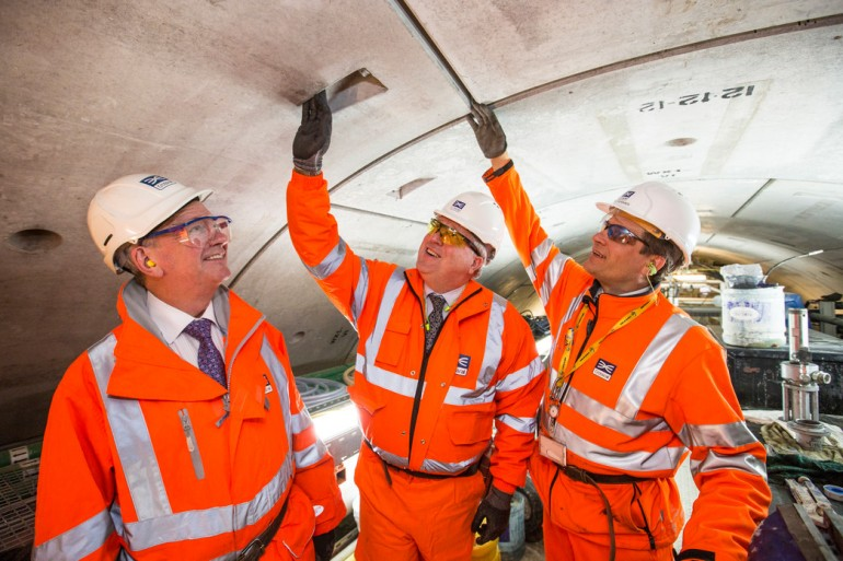 Transport Secretary Patrick McLoughlin visits Crossrail's Plumstead construction site