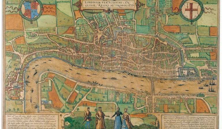 Map of London from the second edition of the Civitates Orbis Terrarum, 1574