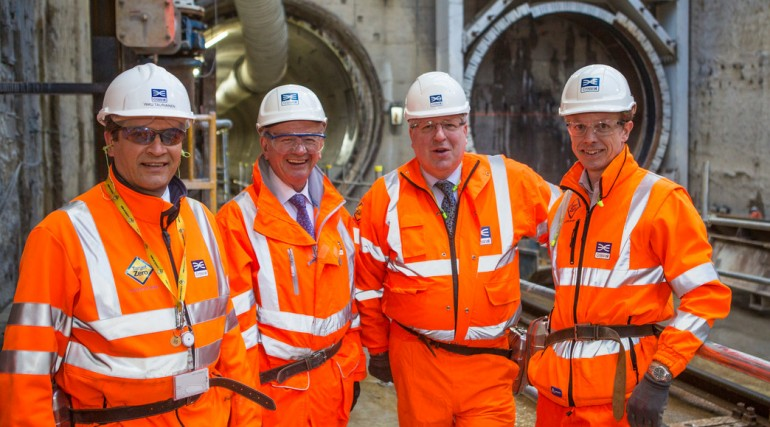 Transport Secretary Patrick McLoughlin visits Crossrail's Plumstead construction site, March 2013