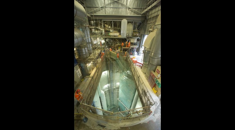 Access shaft for construction of 1km of new platform and cross passage tunnels at Whitechapel
