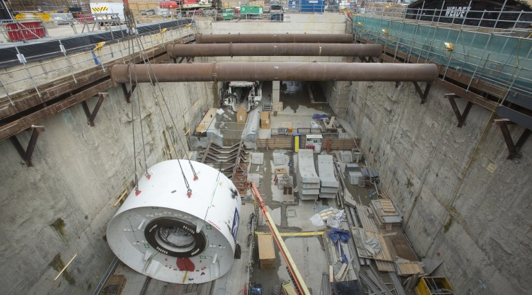 The body of tunnelling machine Jessica is lowered into the tunnel portal