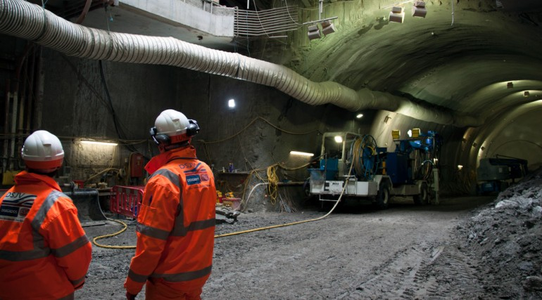 Completion of eastbound cavern at Stepney Green shaft, 14 May 2013