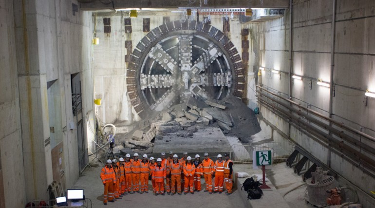 TBM Victoria breaks through into Canary Wharf station box