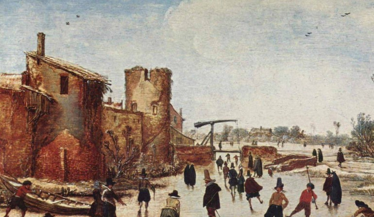 A Medieval scene of ice skating, painted by Esaias van de Velde