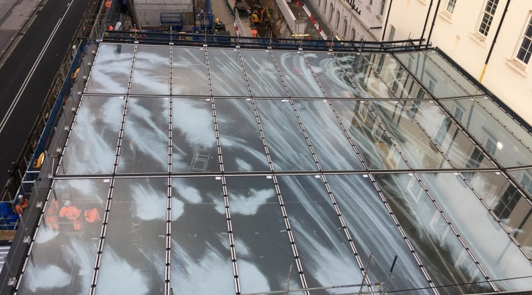 Aerial view of Cloud Index artwork being installed on Paddington canopy January 2018_298404