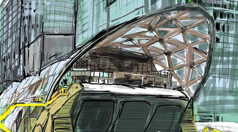 Artist in residence digital drawing of Canary Wharf Crossrail station_136364