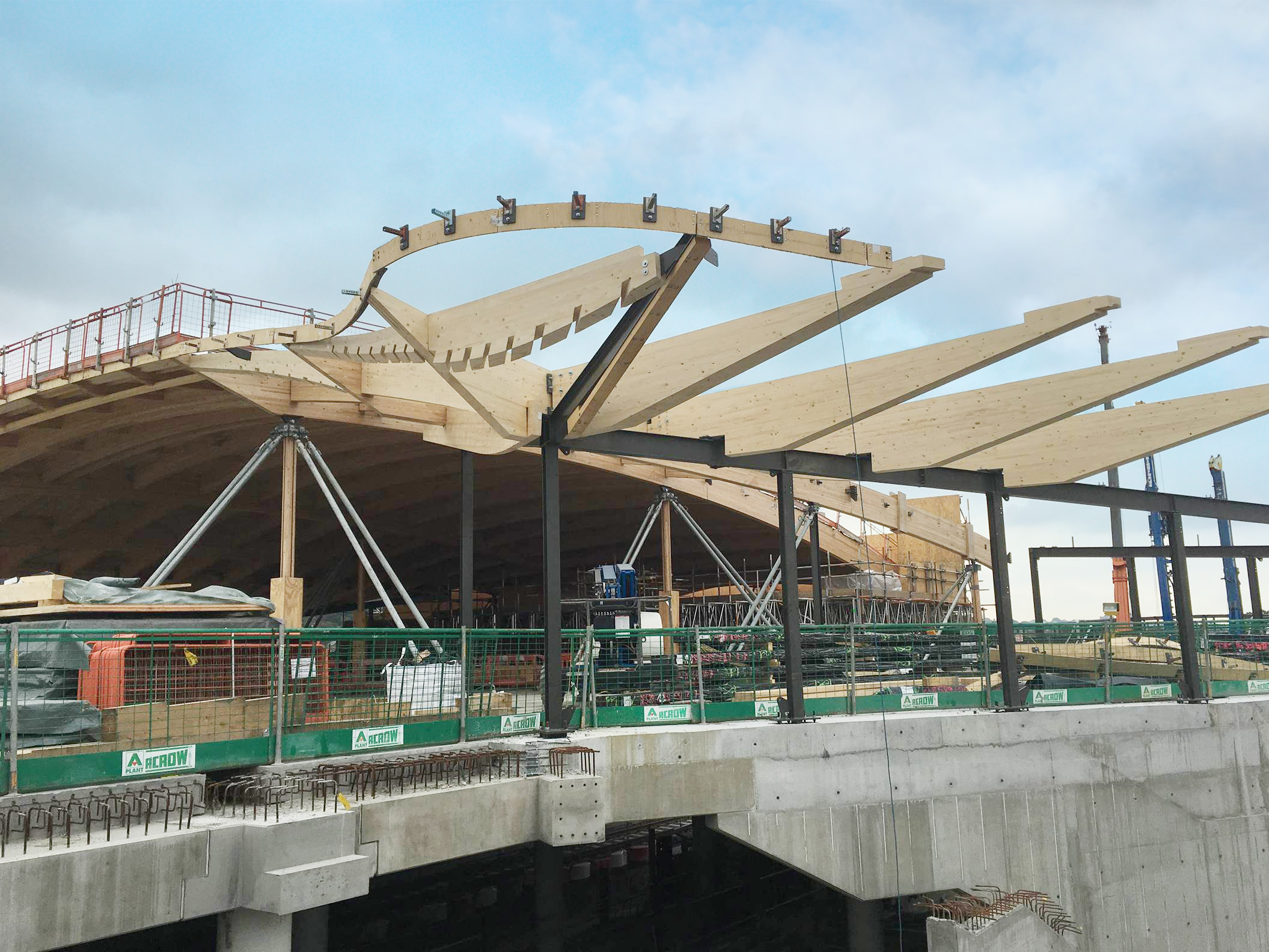 Installation of timber roof at Abbey Wood station