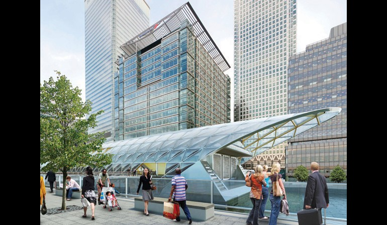 Canary Wharf Station - view from dockside