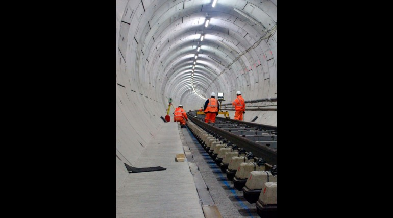 Rail and sleepers aligned in Thames tunnel prior to concrete track slab pour_210272