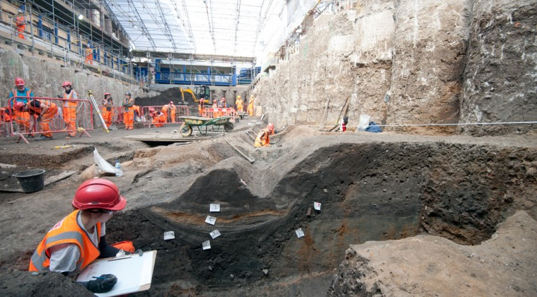 Cross-section of Roman roadside ditch uncovered at Liverpool Street station ticket hall April 2015_1