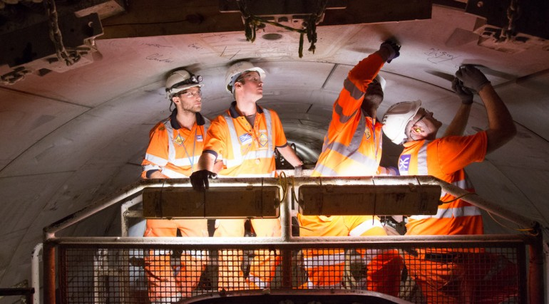 Crossrail Construction Manager Steve Parker signs tunnel segment