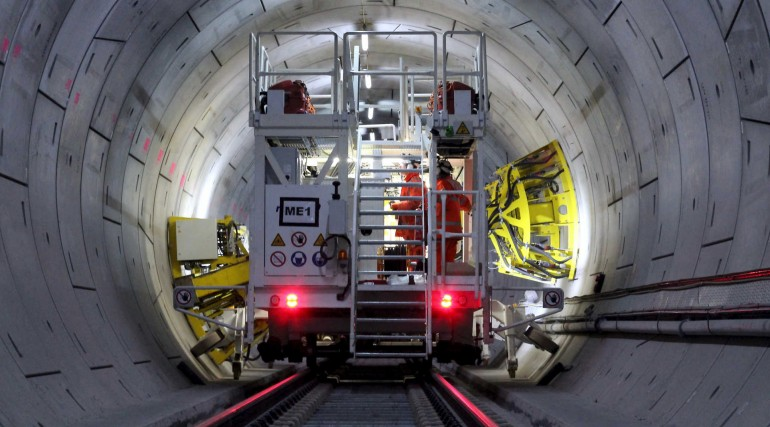 Crossrail drilling rig working in Thames Tunnel_229971