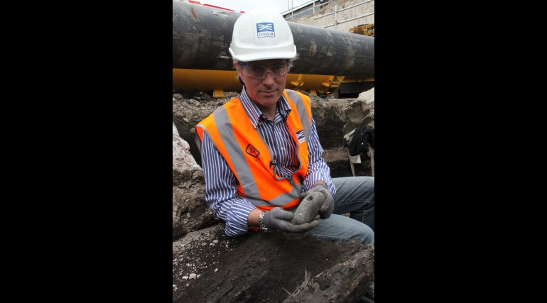 Crossrail Lead Archaeologist Jay Carver on site during Plumstead investigations_47089