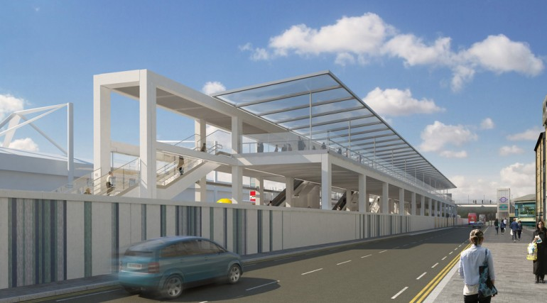 Custom House Station architects impression - Victoria Dock Road view from west_127363
