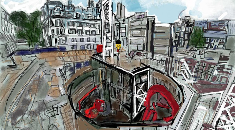 Digital artwork of Moorgate Shaft by Crossrail Artist in Residence Julie Leonard_161469