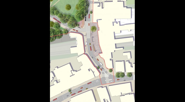 Ealing Broadway Station - urban realm aerial view plan showing station forecourt_138986