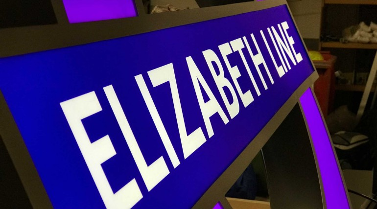 Elizabeth line signage in production at AJ Wells & Sons_296076