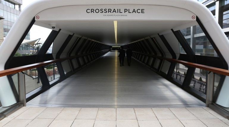 Entrance to Canary Wharf Crossrail station oversite development September 2015